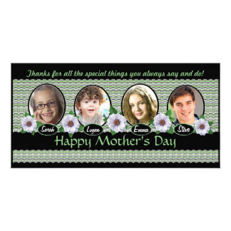 Special Zinnias and Kids For Mother's Day Custom Customized Photo Card