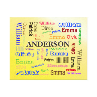 Specialized Family Word Cloud Name Collage Canvas Print