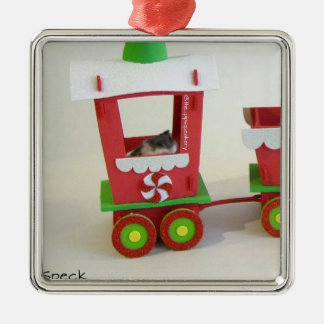 Speck on The Christmas Train Silver-Colored Square Decoration