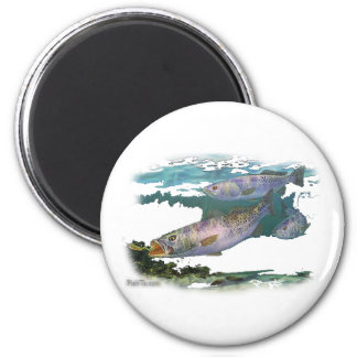 Speckled Trout Feeding 6 Cm Round Magnet