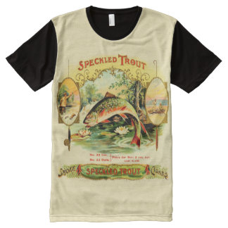 Speckled Trout Vintage Cigar Box Label All-Over Print T-Shirt