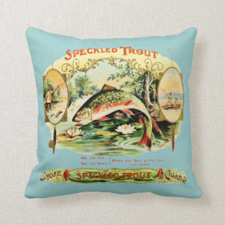 Speckled Trout Vintage Cigar Box Label Cushion