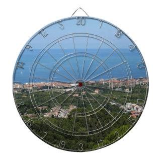 Spectacular aerial panorama of Livorno city Dartboard