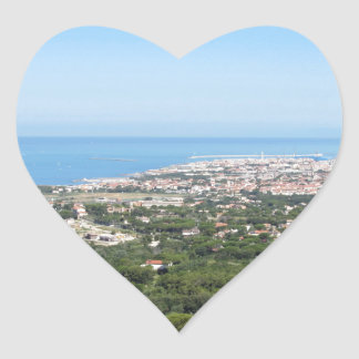 Spectacular aerial panorama of Livorno city Heart Sticker
