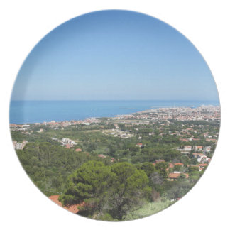 Spectacular aerial panorama of Livorno city, Italy Plate