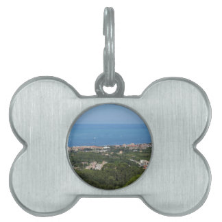 Spectacular aerial panorama of Livorno city Pet ID Tag