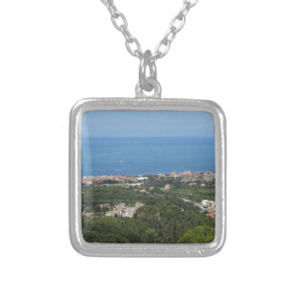 Spectacular aerial panorama of Livorno city Silver Plated Necklace