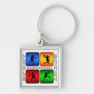 Spectacular Basketball Silver-Colored Square Key Ring