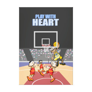 Spectacular basketball played action in the heat canvas print