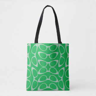 Spectacular Cat Eye Glasses Green & White Fashion Tote Bag