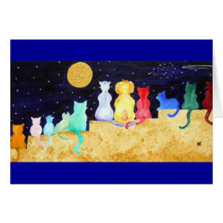Spectacular - Cats and one dog gazing at the night Card