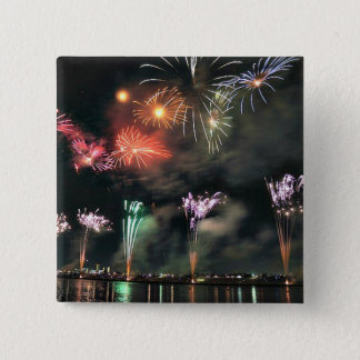 Spectacular Fireworks 15 Cm Square Badge