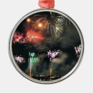 Spectacular Fireworks Silver-Colored Round Decoration