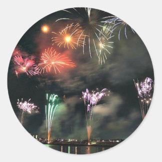 Spectacular Fireworks Round Sticker