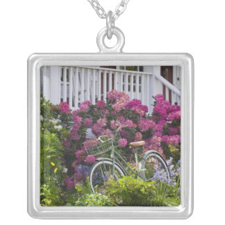 Spectacular spring bloom, whimsical antique square pendant necklace