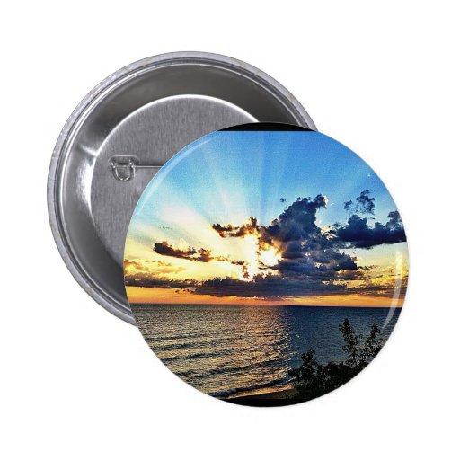 Spectacular sunset over Lake Michigan Pinback Button
