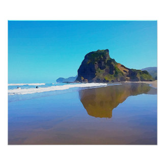Spectacular Surf Beach Piha Auckland New Zealand Poster