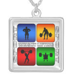 Spectacular Weight Lifting Square Pendant Necklace