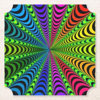 SPECTRUM Spiral, Visual Illusion, Rainbow / Green Paper Coaster