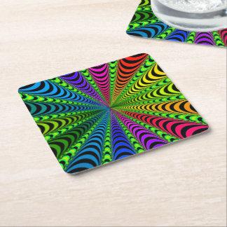 SPECTRUM Spiral, Visual Illusion, Rainbow / Green Square Paper Coaster