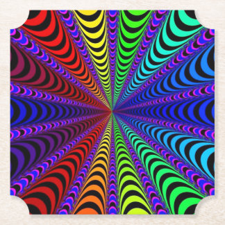 SPECTRUM Spiral, Visual Illusion, Rainbow / Purple Paper Coaster