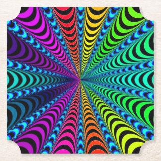 SPECTRUM Spiral, Visual Illusion, Rainbow / Teal Paper Coaster