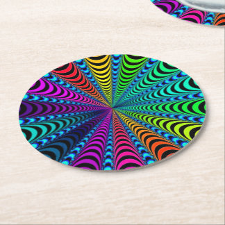 SPECTRUM Spiral, Visual Illusion, Rainbow / Teal Round Paper Coaster