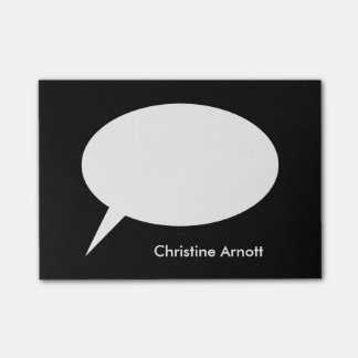 Speech Balloon with Custom Name Text Post-it Notes