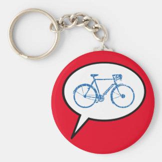 speech bubble & bike, biking basic round button key ring