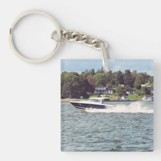 Speed boat in Stockholm Key Ring