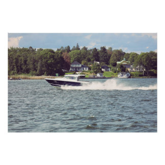 Speed boat in Stockholm Poster