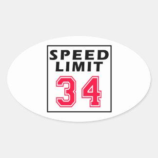Speed limit 34 birthday designs oval sticker