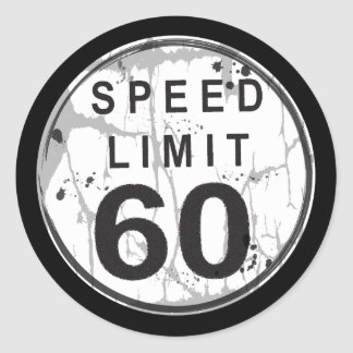 Speed Limit 60 Grungy Sticker