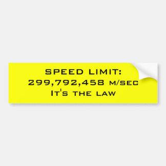 Speed limit bumper sticker