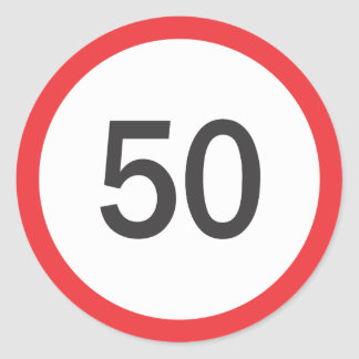 Speed limit fifty classic round sticker