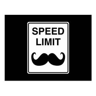 Speed Limit Mustachio Sign Postcard