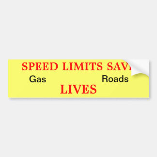 Speed Limits Save Bumper Sticker