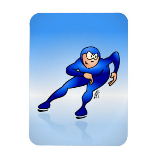 Speed skater rectangular photo magnet
