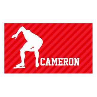 Speed Skater; Scarlet Red Stripes Pack Of Standard Business Cards