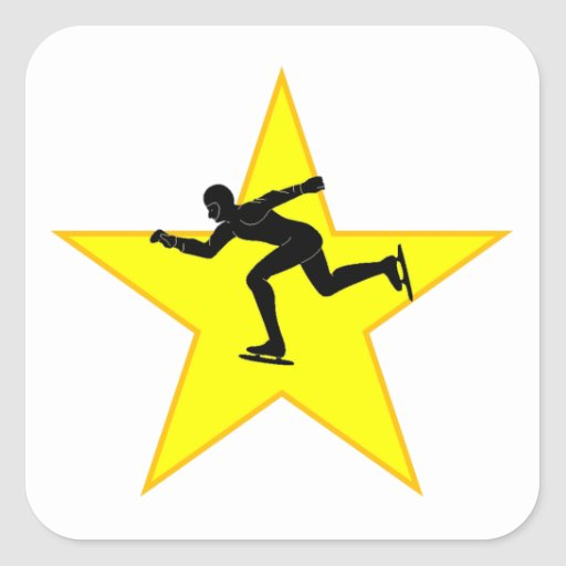 Speed Skater Silhouette Star Square Stickers