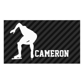 Speed Skating; Black & Dark Gray Stripes Double-Sided Standard Business Cards (Pack Of 100)