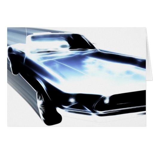 Speeding Blue Mustang card
