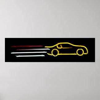 Speeding Race Car Neon Sign Posters