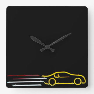 Speeding Race Car Neon Sign Square Wall Clock