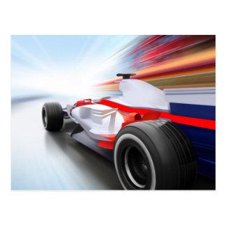 Speeding Red Race Car Post Cards