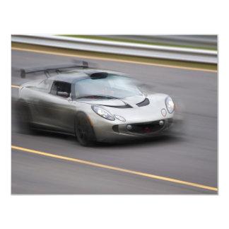 "Speeding Sports Car 4.25"" X 5.5"" Invitation Card"