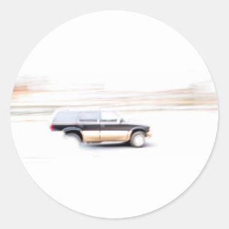 Speeding SUV Truck Round Sticker