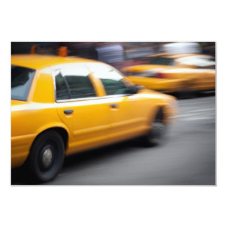 Speeding Yellow NY City Taxi Cab with Motion Blur 9 Cm X 13 Cm Invitation Card