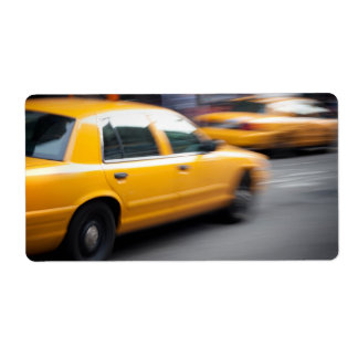 Speeding Yellow NY City Taxi Cab with Motion Blur Shipping Label