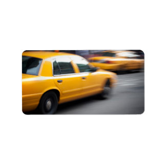 Speeding Yellow NY City Taxi Cab with Motion Blur Address Label